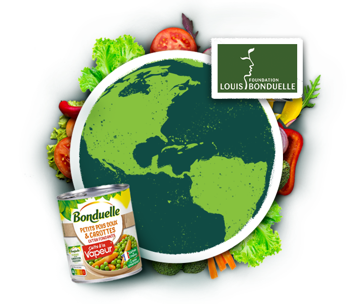 image collage of earth and bonduelle canned product