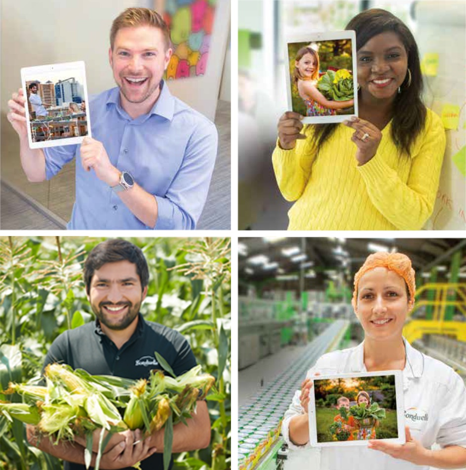 Four Bonduelle employees holding photos