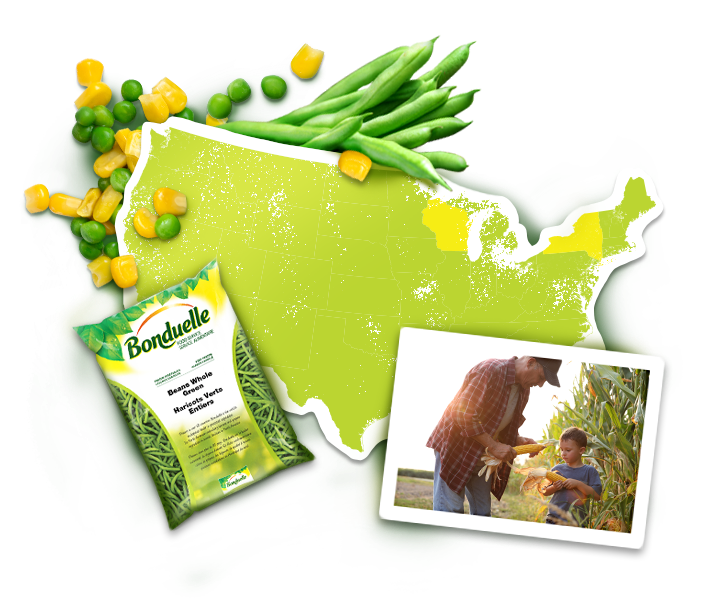 Bonduelle usa map with package of veggies